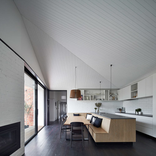 Minimalist dark wood floor kitchen dining room combo photo in Melbourne  with white walls Best 15 Modern Dining Room Ideas Decoration Pictures Houzz