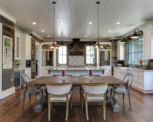 11 best farmhouse dining room ideas decoration pictures houzz example of a large country brown floor and dark wood floor kitchendining room combo ppazfo