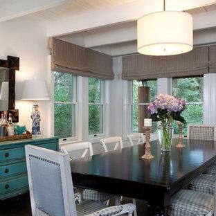 Idee per una sala da pranzo stile shabby con pareti bianche