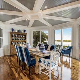 Inspiration For A Beach Style Dark Wood Floor And Brown Floor Dining Room  Remodel In Miami