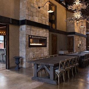 Foto de comedor urbano, grande, abierto, con paredes grises, suelo de cemento, chimenea lineal y marco de chimenea de piedra
