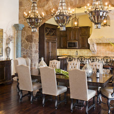 Mediterranean Dining Room by Geschke Group Architecture