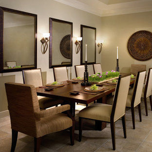 Inspiration for a contemporary dining room remodel in New York with beige walls