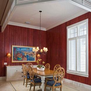 Пример оригинального дизайна: столовая в морском стиле с красными стенами