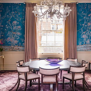 Inspiration for a large timeless carpeted and purple floor great room remodel in London with blue walls, a standard fireplace and a stone fireplace