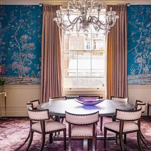Idéer för en stor klassisk matplats med öppen planlösning, med blå väggar, heltäckningsmatta, en standard öppen spis, en spiselkrans i sten och lila golv