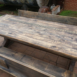 Natural Colors - Natural finish, white oak, rustic, sun dried grey, reclaimed trestle table. Let us know what you think!