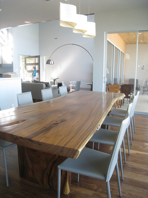 Trendy dining room photo in Dallas with white walls. Wood Plank Table   Houzz