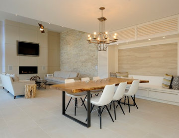 Natural Open Concept Dining and Living Room in Light Palette