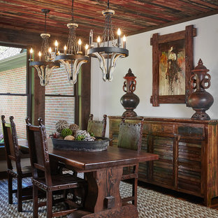 Inspiration for a rustic dining room remodel in Grand Rapids