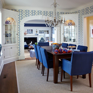 Navy and Patterns: Dining and Living Room
