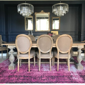 Navy Dining Room with Pink Rug