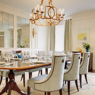 Elegant dining room photo in Richmond with white walls