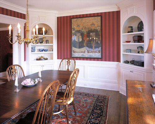Inspiration For A Timeless Dark Wood Floor Dining Room Remodel In New York  With Red Walls