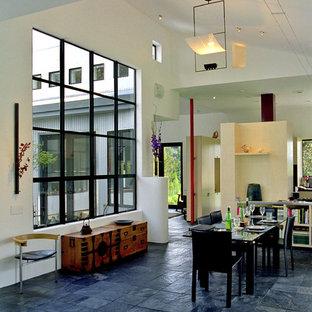 Esempio di una sala da pranzo aperta verso il soggiorno moderna con pavimento in ardesia e pavimento blu
