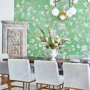 Свежая идея для дизайна: большая отдельная столовая в стиле современная классика с серыми стенами, паркетным полом среднего тона, балками на потолке и обоями на стенах - отличное фото интерьера