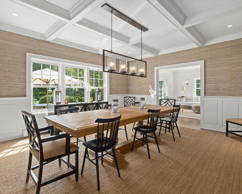 Inspiration For A Beach Style Medium Tone Wood Floor Enclosed Dining Room  Remodel In Philadelphia With