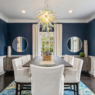 Example of a transitional dark wood floor enclosed dining room design in Columbus with blue walls and no fireplace