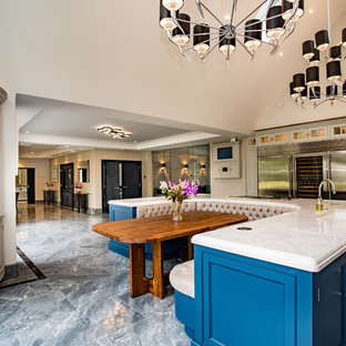 Inspiration for a classic kitchen/dining room in Buckinghamshire with marble flooring, grey floors and white walls.