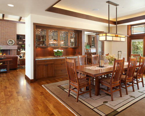 Example Of A Mid Sized Arts And Crafts Medium Tone Wood Floor Great Room Design