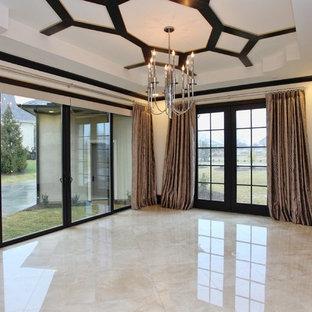 Imagen de comedor contemporáneo, extra grande, abierto, con suelo de mármol y paredes blancas