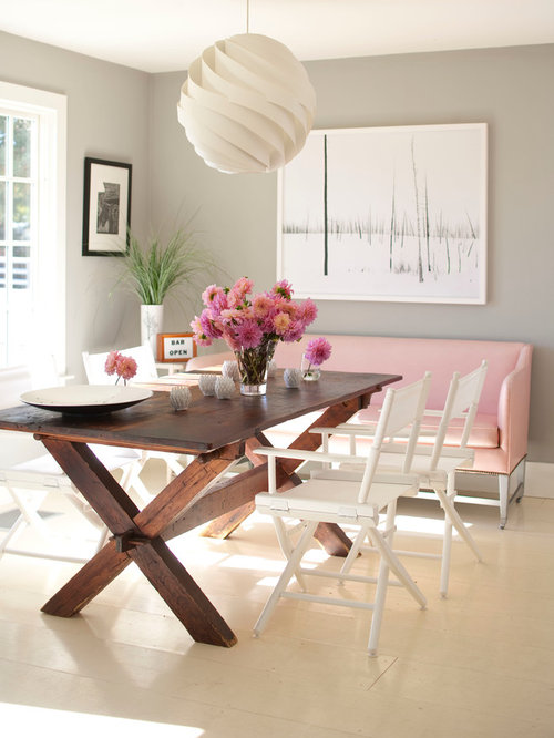 Inspiration For A Contemporary Painted Wood Floor And White Floor Dining  Room Remodel In New York