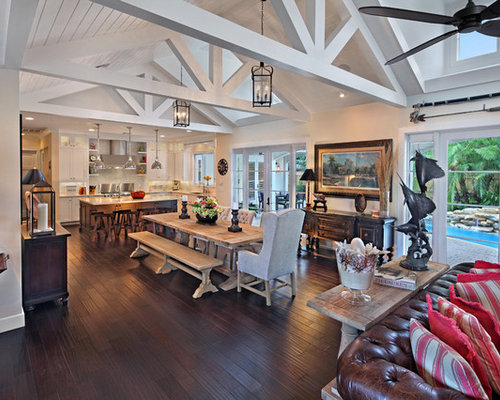 Vaulted ceiling great room houzz for Great room home designs