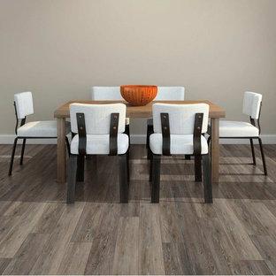 Modelo de comedor actual, de tamaño medio, abierto, sin chimenea, con paredes grises, suelo vinílico y suelo marrón