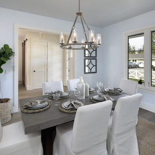 Inspiration for a large cottage medium tone wood floor and gray floor enclosed dining room remodel in San Francisco with blue walls and no fireplace
