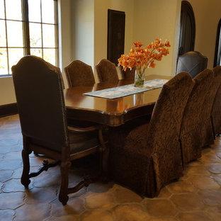 Esempio di una grande sala da pranzo mediterranea chiusa con pareti beige, pavimento in terracotta, nessun camino e pavimento arancione