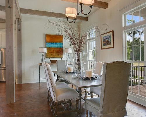 midsized traditional dark wood floor room combo idea in new orleans