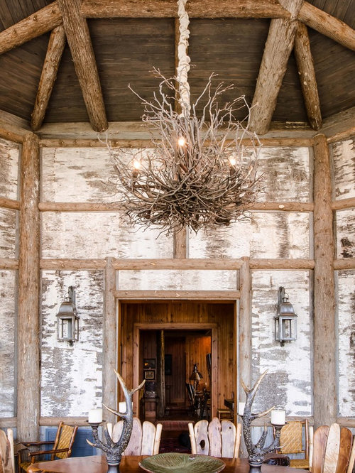 Awesome Inspiration For A Large Rustic Dining Room Remodel In Other