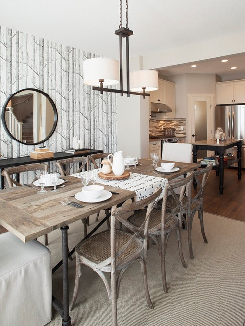 Inspiration For A Transitional Dark Wood Floor Kitchen/dining Room Combo  Remodel In Edmonton