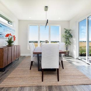 Foto di una sala da pranzo aperta verso il soggiorno minimal di medie dimensioni con pavimento in laminato, pareti grigie, nessun camino e pavimento marrone
