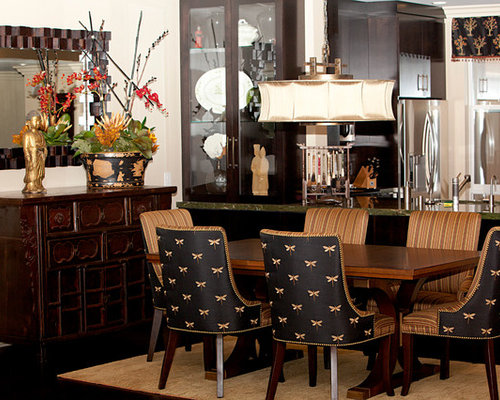 Asian Kitchen Dining Room Combo Idea In Orange County With White Walls