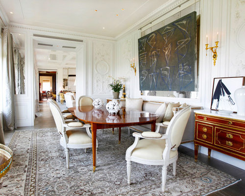 Example Of A Transitional Enclosed Dining Room Design In Los Angeles With  White Walls