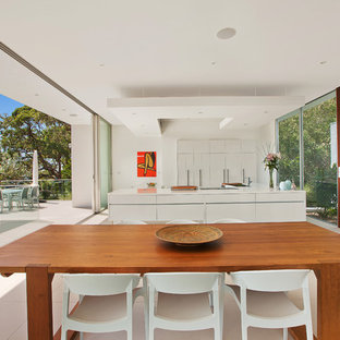 Inspiration for a large contemporary great room remodel in Sydney with white walls