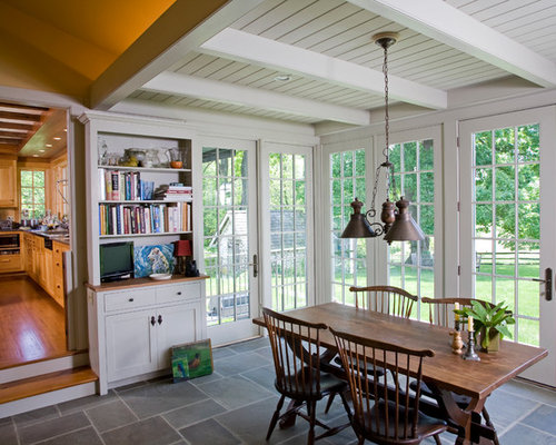 inspiration for a timeless dining room remodel in philadelphia with white walls and slate floors. beautiful ideas. Home Design Ideas