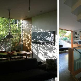 Diseño de comedor moderno, pequeño, abierto, con paredes blancas, suelo de madera clara, chimeneas suspendidas y marco de chimenea de metal