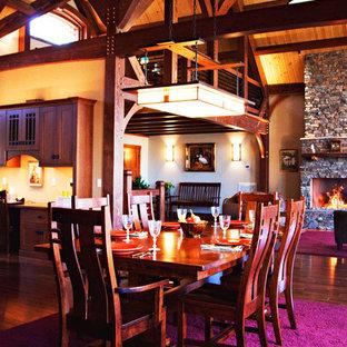 Cette image montre une salle à manger craftsman.