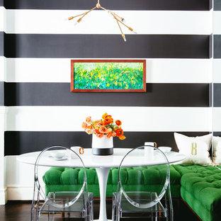 Dining room - contemporary dark wood floor dining room idea in San Francisco with multicolored walls