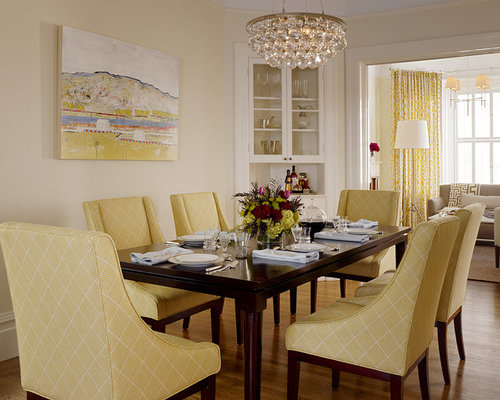 Transitional Medium Tone Wood Floor Dining Room Photo In San Francisco With  Beige Walls Part 64