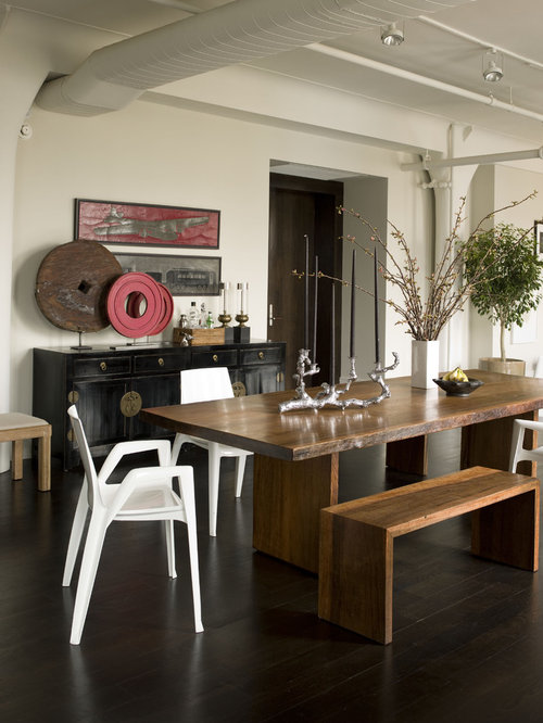Awesome Trendy Dark Wood Floor Dining Room Photo In New York With White Walls