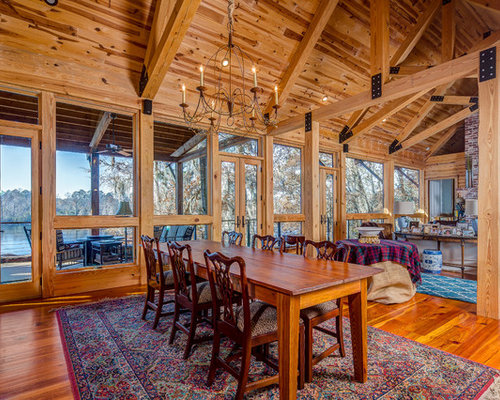Mountain style dining room photo in Atlanta with medium tone wood floors  and brown floorsRustic Dining Room Ideas   Design Photos   Houzz. Rustic Dining Rooms Ideas. Home Design Ideas