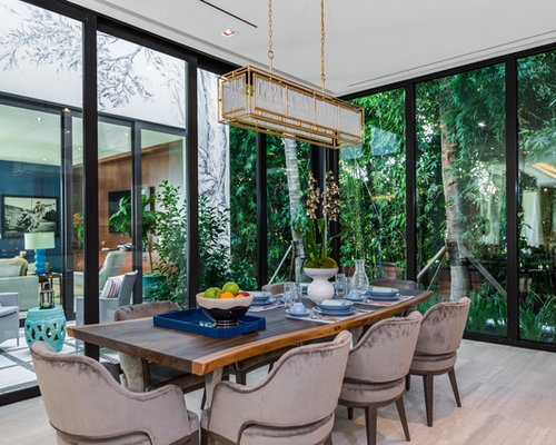 Inspiration For A Tropical Gray Floor Dining Room Remodel In Miami