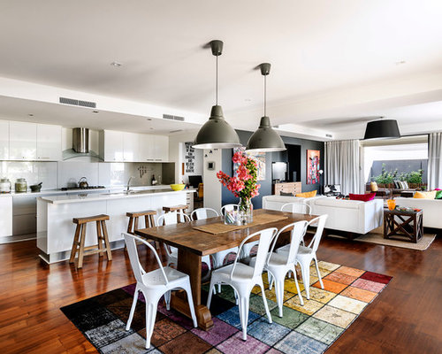 Contemporary Dark Wood Floor Great Room Idea In Perth With White Walls