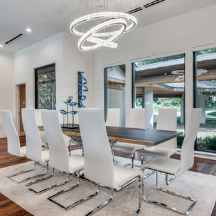 Dining Room Contemporary Dark Wood Floor And Brown Idea In Dallas With