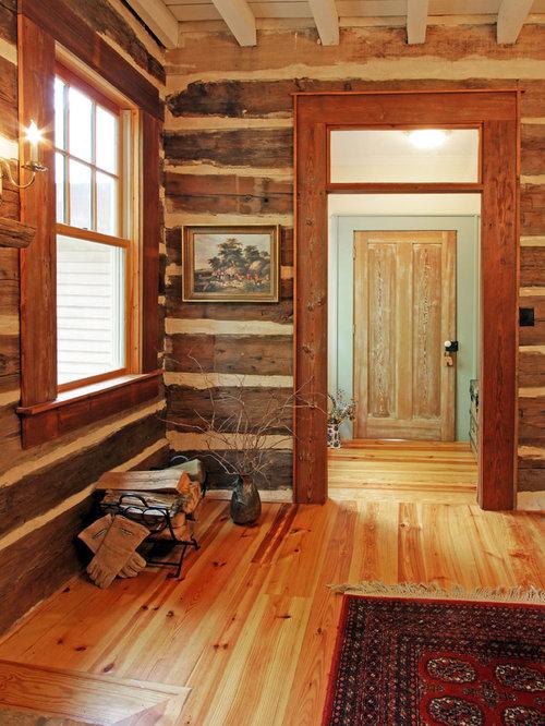 Log window trim houzz for Rustic cabin flooring