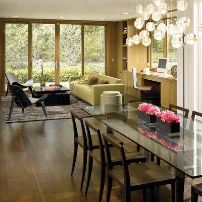 Dining room - contemporary dark wood floor dining room idea in Chicago