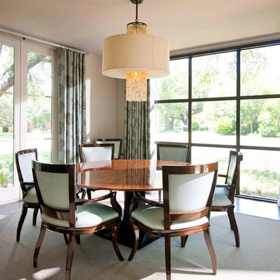 Inspiration for a transitional dark wood floor dining room remodel in Dallas